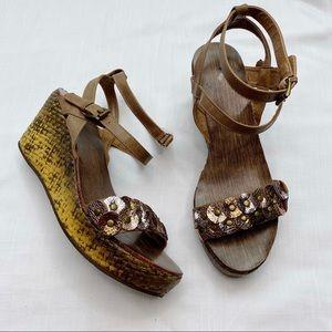 NWOT Corkys Treasure Ankle Strap Wedges Women's 9